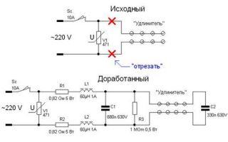Схема удлинителя с выключателем – советы электрика