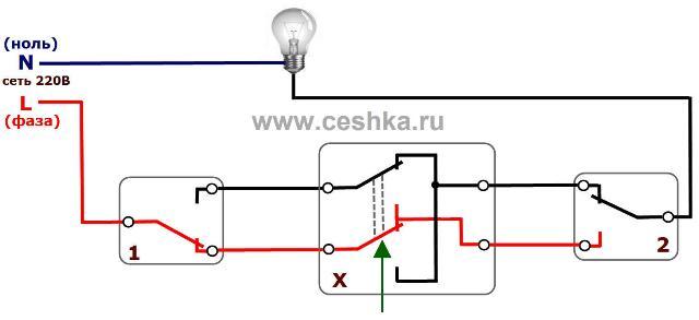 Схема проходного выключателя с двух мест – советы электрика
